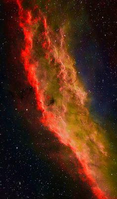 """n-a-s-a: """"• What's California doing in space? Drifting through the Orion Arm of the spiral Milky Way Galaxy, this cosmic cloud by chance echoes the outline of California on the west coast of the..."""