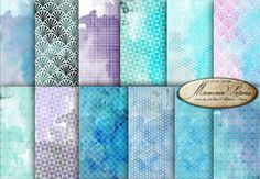 Watercolor Digital Paper / Purple blue  Geometric Watercolor Paper  Modern   Digital Watercolor Background   Sheets 12x12   (D12 006) by MemoriesPictures on Etsy