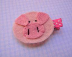 Pink Pig Felt Clippie
