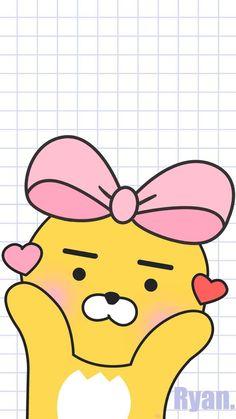 카카오프렌즈 라이언 Ryan Bear, Kakao Ryan, Kakao Friends, Simple Wallpapers, Love Bear, Minions, Iphone Wallpaper, Art Drawings, Pikachu