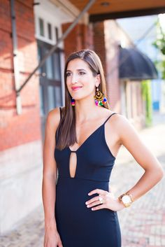 Black Keyhole Midi Dress and Colorful Tassel Statement Earrings // A Southern Drawl
