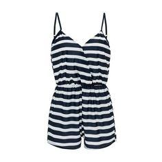 V Neck Open Back Stripe Print Romper ($24) ❤ liked on Polyvore featuring jumpsuits, rompers, black, long-sleeve romper, open-back rompers, striped rompers, blue rompers and blue romper