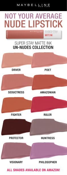Not your average nude lipstick! Our fan favorite Super Stay Matte Ink is now available in 10 new nude and unconventional nude shades! Introducing the NEW Un-Nudes collection. Get a longwear, matte nude lip look with just one swipe. Shop all shades on Amazon!