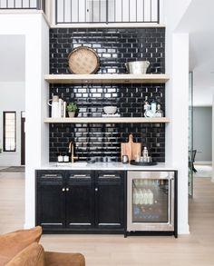 Carp Landing Page — Leclair Decor Modern Home Bar Designs, Wet Bar Designs, Home Wet Bar, Bars For Home, Living Room Bar, Living Room Interior, Dining Room, Bar Tile, Indoor Bar