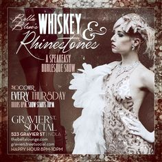 "Thursday, July 20th, 2016  Celebrate Tales of the Cocktail with Gravier Street Social and Whiskey & Rhinestones presented by Casa Noble and Modelo! Gravier Street Social 523 Gravier St. No Cover  2pm-8pm: Join us for complimentary tequila, cerveza, cocktails and beertails at the ""Casa Noble Mixology Lab and Recharge Lounge"" at Gravier Street Social.  10pm-11pm: Enjoy burlesque performances from members of The Foxglove Revue and Bella Blue Entertainment!"