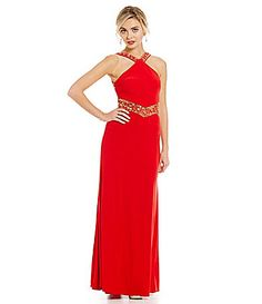 Betsy and Adam Halter Beaded CutOut Gown #Dillards