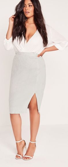 nice Missguided - Plus Size Thigh Split Faux Suede Midi Skirt Grey