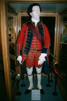 The uniform of Captain Thomas Plumbe of the 1st Royal Lancashire Militia, 1760 - 1765. It is the oldest most complete British Army uniform in the world.