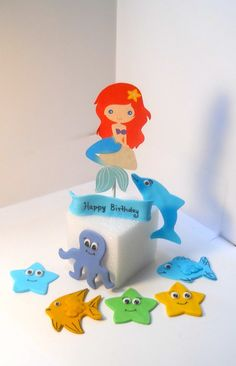 Mermaid or Under the Sea Fondant Cake Toppers by AmazeWithCakes