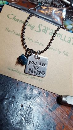 You are my happy necklace by CharmingSarabella on Etsy