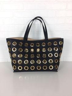 AUTH NWT DEUX LUX Berlin Gold Grommet Black Tote Shoulder Bag w/ Pouch $170 | Tote | Shopper | 2017 trends | fashion | style | women's outfit ideas | vacation | the yuppie closet | ebay | designer | discount | boutique
