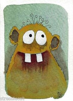 ACEO Original Watercolor Painting Fantasy Folk Art Fun Peek A Boo Monster   eBay