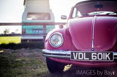 Vintage Volkswagens: Turquoise Camper and red #Beetle #vw