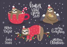 Ad: Alpaca and Sloth. Christmas Sloth by Barkova Nadya on 20 vector print (jpg, eps) - New Christmas Sloth set - New Christmas Alpaca print and pattern Update - Cutr summer sloth - Cute prints with Christmas Sloth, Merry Christmas Card, Christmas Fun, Xmas, Sloth Drawing, Sloth Tattoo, Cute Sloth, Large Christmas Baubles, My Spirit Animal