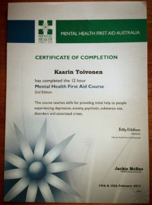 Kaarin at Nordic Planning just completed a Mental Health First Aid Course!
