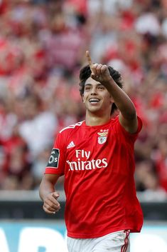 Joao Felix of Benfica celebrates his goal during the Portuguese League football match between SL Benfica and CD Aves at Luz Stadium in Lisbon on September (Photo by Carlos Palma/NurPhoto via Getty Images) Benfica Wallpaper, All Star, Soccer Stars, Football Match, Disney Wallpaper, Champions League, Lisbon, Manchester United, Beautiful Boys