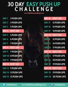 30 Day Easy Push Up Fitness Challenge Chart