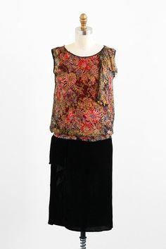 1920s floral pink + gold chiffon flapper dress | vintage dress | #vintage