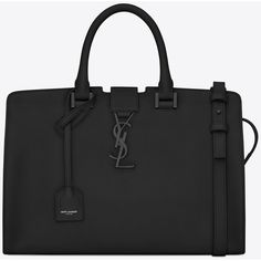 Small Monogram Saint Laurent Cabas Bag In Black Leather ($2,650) ❤ liked on Polyvore featuring bags, handbags, shoulder bags, black, black handbags, shoulder strap bag, genuine leather purse, black shoulder handbags и leather purse