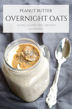 Sweet, creamy and filling, these Basic Peanut Butter Overnight Oats are the perfect choice for busy weekday mornings. You can have them ready in under 10 minutes, and store in the fridge for days. Peanut Butter Overnight Oats, Vegan Overnight Oats, Peanut Butter Roll, Vegan Oatmeal, Low Carb Vegan Breakfast, Healthy Breakfast Recipes, Breakfast Ideas, Vegan Recipes Plant Based, Vegetarian Recipes