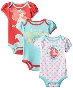 Disney Baby-Girls The Little Mermaid Ariel Bodysuit, Pink, 12 Months (Pack of 3 pack of ariel the little mermaid creepers with glitter Outfits Niños, Kids Outfits, Disney Baby Outfits, Baby Girl Fashion, Kids Fashion, Disney Merch, Little Mermaid Baby, Disney Collection, Baby Kids Clothes