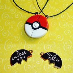 Pokemon - I Choose You - Pokeball Friendship Necklaces with Engraving | YellerCrakka - Jewelry on ArtFire