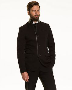 Double Knit Slim Fit Blazer - This double knit slim fit blazer can be worn from desk to dinner. Double Knitting, Athletic, Slim, Blazer, Fitness, Jackets, Style, Fashion, Cutaway