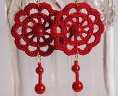 Pendientes de crochet-ganchillo - Pendientes largos -Color rojo granate - Flor de ganchillo crochet