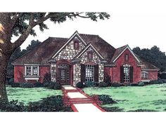 Eplans House Plan: This three-bedroom cottage would suit a corner lot or shallow lot well.  Sidelights and a sunburst surround the entry and light the tiled foyer. A  cathedral ceiling accents the large size of the great room