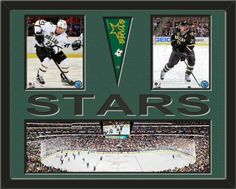 Two framed 8 x 10 inch Dallas Stars photos of Loui Eriksson with a Dallas Stars mini pennant and small stadium panoramic, double matted in team colors to 28 x 22 inches.  STARS* is cut into the top mat and shows the bottom mat color.  (Pennant design subject to change) $159.99  @ ArtandMore.com