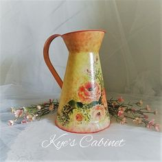 "Metal Watering Can Hand Painted, Watering Jug ""Orange Peonies"" Decoupage, Silver Iron Floral Watering Pitcher, Mother's Day Gift Mother's Day Special Gifts, Mothers Day Special, Flower Vases, Flower Pots, Housewarming Decorations, Metal Watering Can, Red And Pink Roses, Etsy Handmade, Handmade Items"