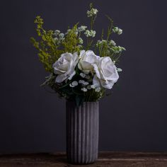WHITE ROSES & CONCRETE VASE - BUNCHES - WYLD HOME - 1