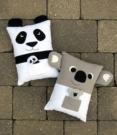 Panda and Koala Pillows PDF Sewing Pattern with Felt Baby Panda
