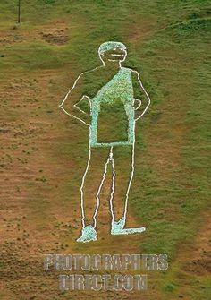 Green Giant on the side of a wheat field hill in Dayton, Washington.