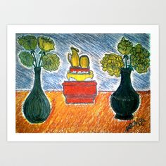 TABLE AND VASES Art Print by NEIL STUART COFFEY - $15.60