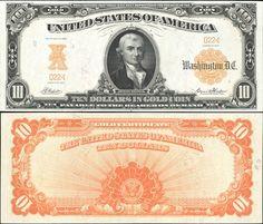 US 10 Dollar Gold Certificate Series of 1922 Serial# Signatures: Speelman / White Portrait: Michael Hillegas Eagle Seal