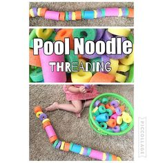 Pool Noodle Threading {We have lots of cut up pool noodles (I cut them with a bread knife) So we decided to thread them onto a string. Or make a big necklace if you ask Bree!} #toddlerplay #toddler #toddlertoys #toddlerfun #toddleractivity #toddleractivities #todderbusttime #busytime