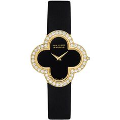 Van Cleef & Arpels Alhambra Sertie Yellow Gold Watch ($14,100) ❤ liked on Polyvore featuring jewelry, watches, yellow gold jewelry, 18 karat gold watches, quartz movement watches, gold jewelry and 18k jewelry