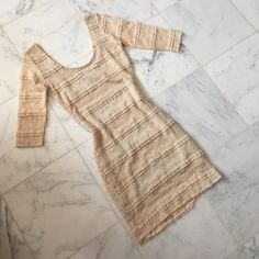 NWOT Nasty Gal beige lace dress NWOT. 3/4 sleeves. Form fitting and very flattering. Scoop neck in front and back. Nasty Gal Dresses Long Sleeve
