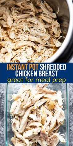 This all purpose Instant Pot shredded chicken breast comes out juicy and flavorful each and every time. Enjoy it as is, or use it up in other recipes through the week! #sweetpeasandsaffron #instantpot #mealprep #chicken #howto