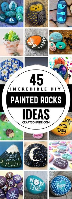 45 Awesome Painted Rocks Absolutely the best painted rocks ideas I've seen yet! I can't wait to start painting all of them. These diy painted rocks are going to be so much fun. I can totally feel it! Definitely saving this for later. Rock Painting Patterns, Rock Painting Ideas Easy, Rock Painting Designs, Paint Designs, Pebble Painting, Pebble Art, Stone Painting, Diy Painting, Stone Crafts