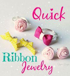Easy Handmade ribbon Jewelry via fynesdesigns.com