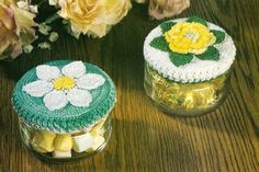 X341 Crochet PATTERN ONLY 2 Floral Lid Covers and Floral Potholder