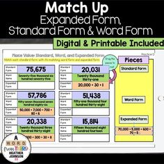 Students practice standard form, expanded form and word form of numbers by cutting out each one and matching the three together. This set includes many different level/degrees of difficulty so that it is really easy to differentiate! Math Stations, Math Centers, Math Strategies, Teaching Resources, Elementary Math, Upper Elementary, Math Fact Practice, Expanded Form, Math Vocabulary