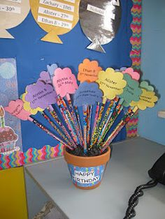 Birthday pencils for each student. Get it done at the beginning of the year and then no worries or forgetting bdays!