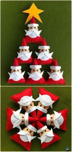 DIY Felt Santa Ornament Instructions - DIY Felt Christmas Ornament Craft Projects [Picture Instructions]