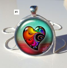 YOUR CHOICE! *Fractal Hearts* Resin Photo Pendant. Starting at $6 on Tophatter.com!