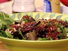 Pear, Toasted Walnut and Mixed Green Salad with Champagne-Cranberry Vinaigrette from FoodNetwork.com