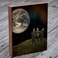 Collage Art  kunst van de aarde  Earth Print  hout door LuciusArt