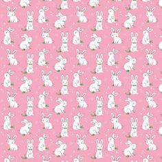 Sweet White Bunnies on a Pink Background. The Winifred Rose Pink Bunny Fabric by Christopher Thompson is Adorable. Easter Fabric, Cat Fabric, Pink Rabbit, Rabbit Baby, Christopher Thompson, White Bunnies, Gingerbread Decorations, Thing 1, Cotton Quilting Fabric